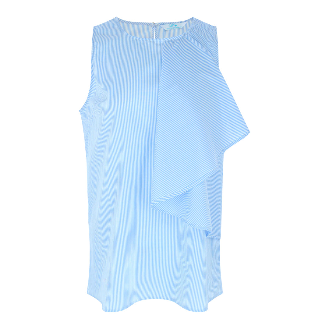 Sleeveless Drop Frill Top (Blue/White Stripes)