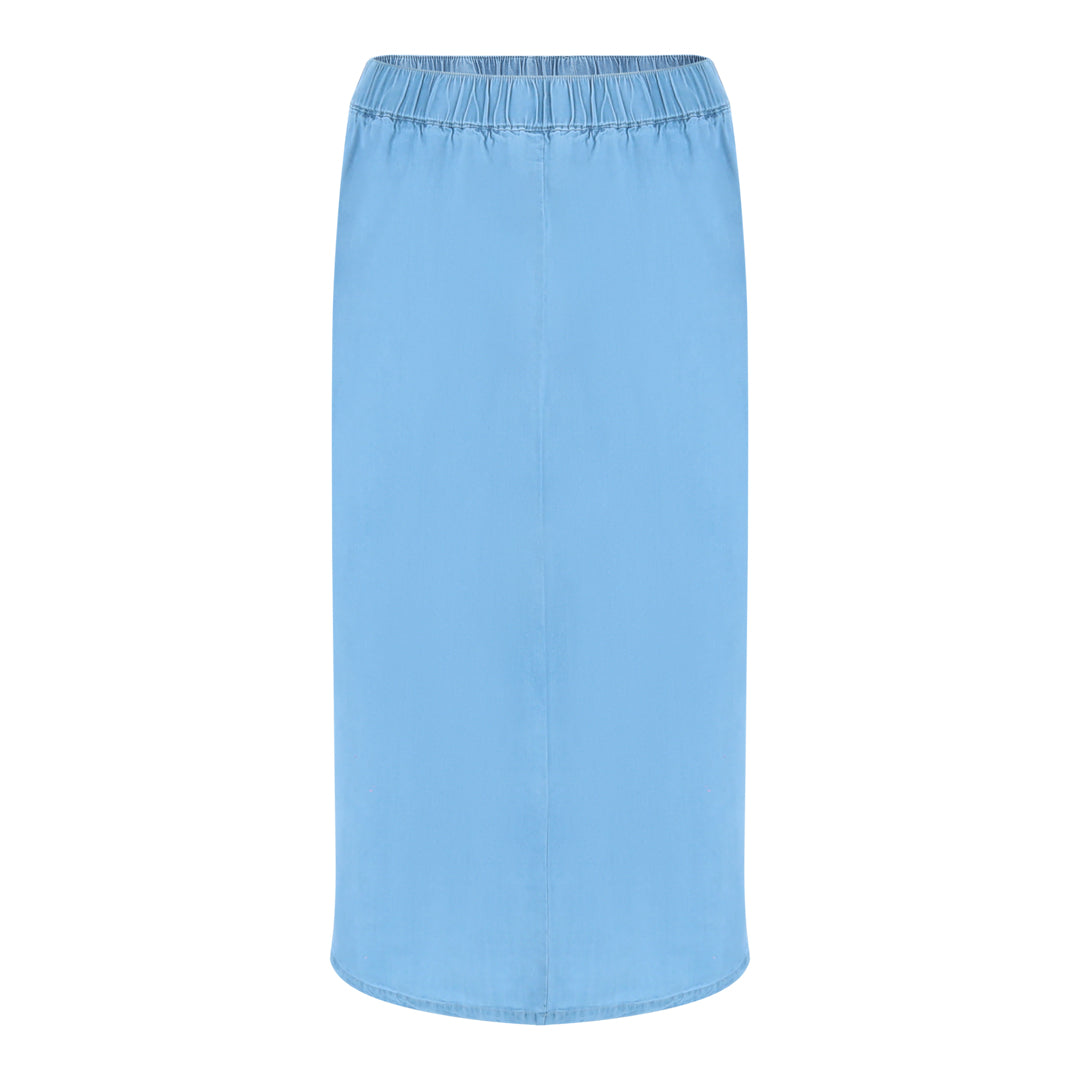 Elasticated Pull String Skirt (Light Denim)