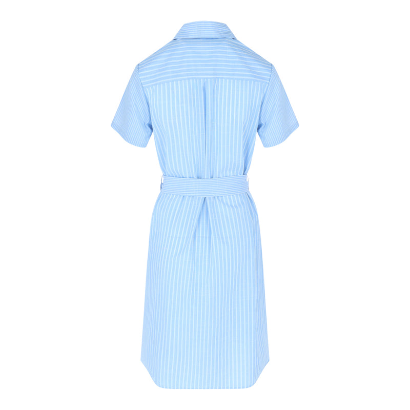 Shortsleeve Shirt Dress (Blue/White Stripes)