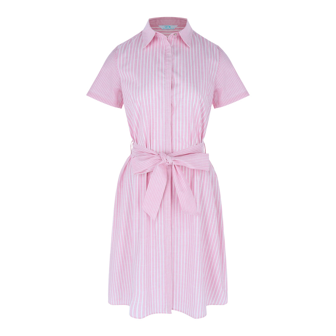 Shortsleeve Shirt Dress (Pink/White Stripes)