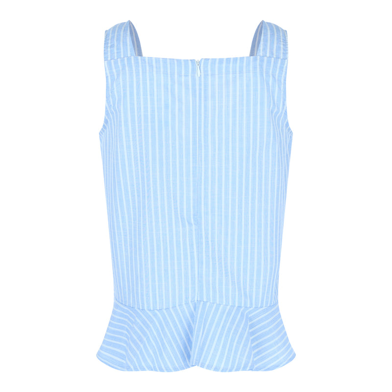 Sleeveless Square Neck Frill Hem Top (Blue/White Stripes)