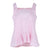 Sleeveless Square Neck Frill Hem Top (Pink/White Stripes)