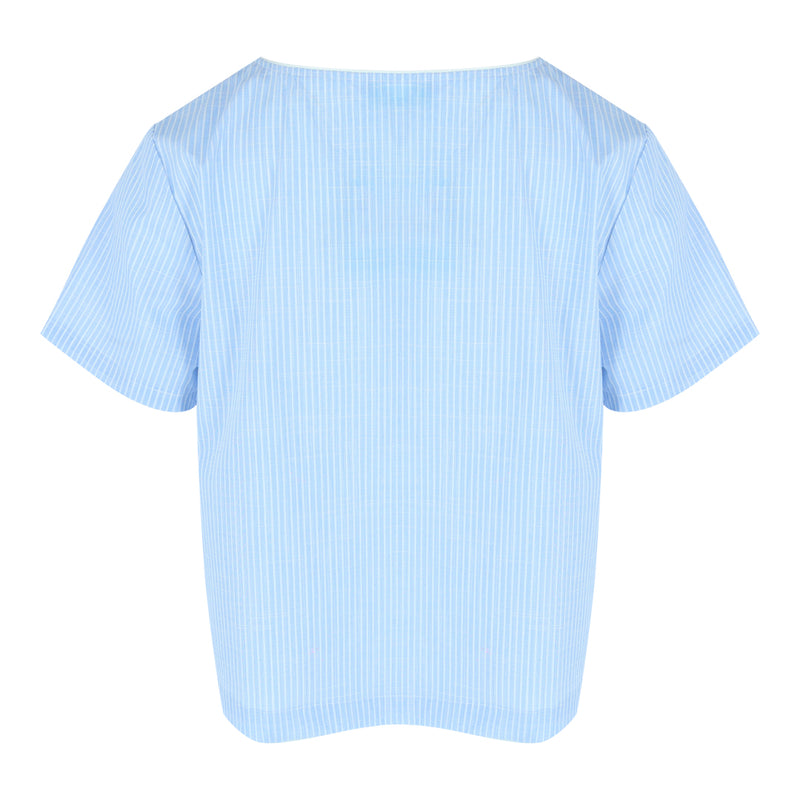 Short Sleeve V-Neck Crop Top (Blue/White Stripes)
