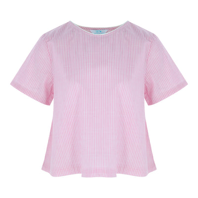 Short Sleeve V-Neck Crop Top (Pink/White Stripes)