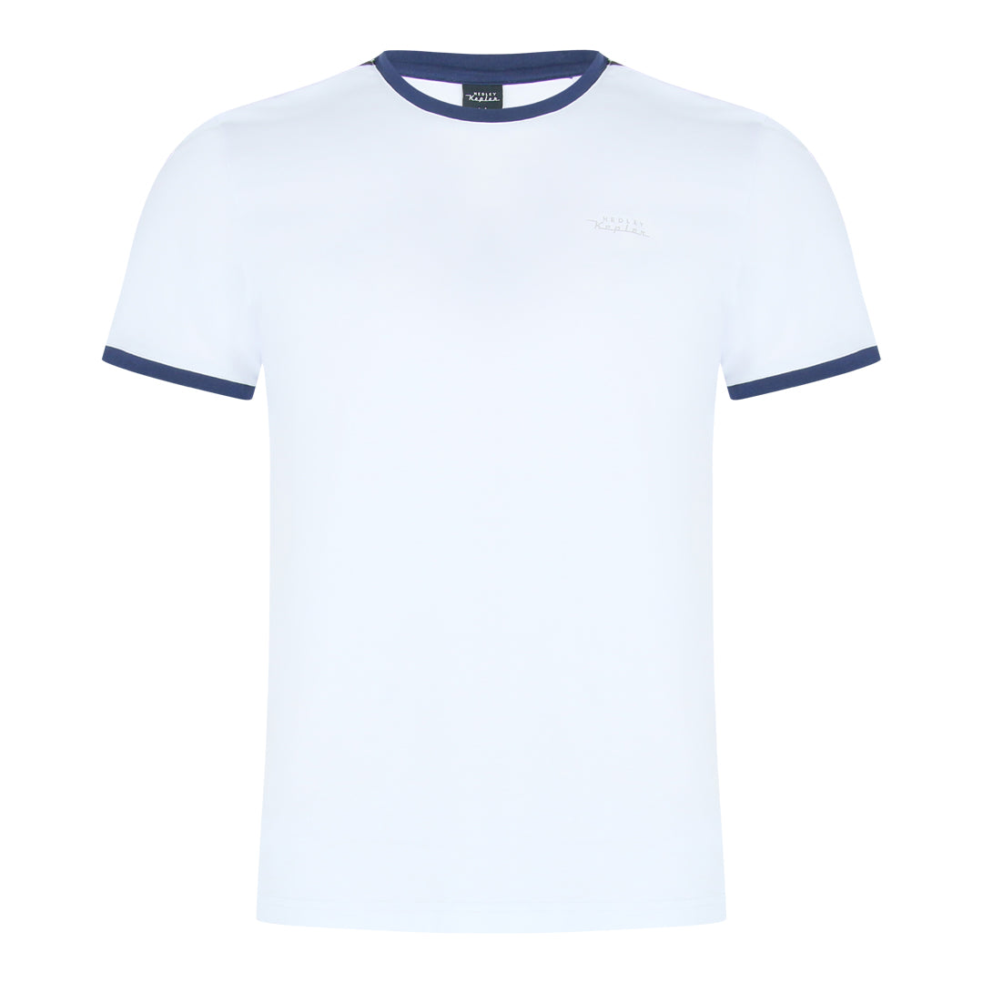 Round Neck Tee With Contrast Panel At Shoulder (White)