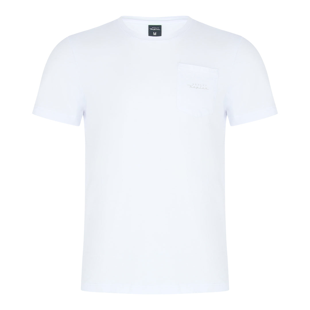 Round Neck Tee With Patch Pocket (White)