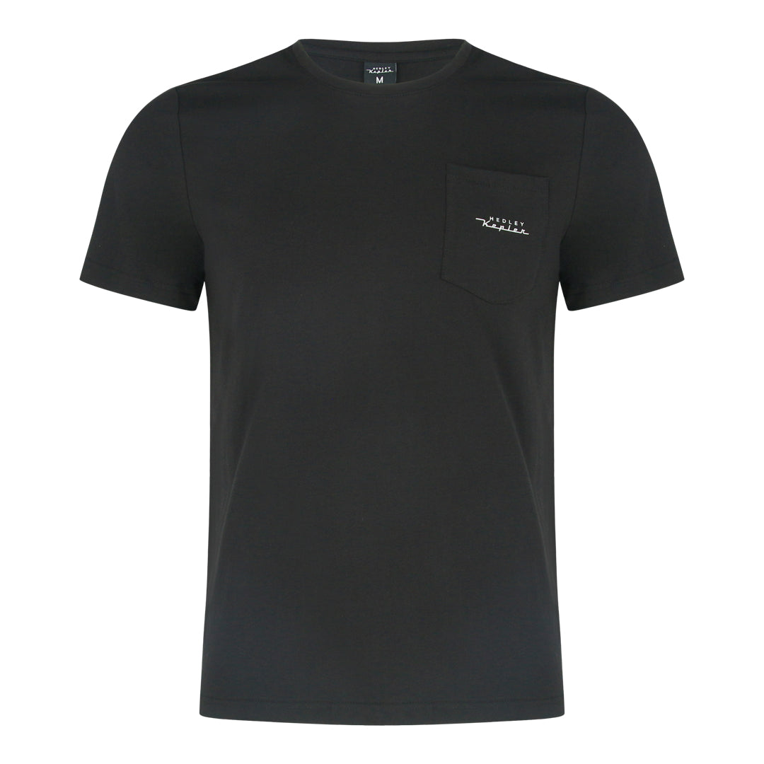 Round Neck Tee With Patch Pocket (Black)