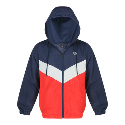Color Block Jacket With Hood (Navy)