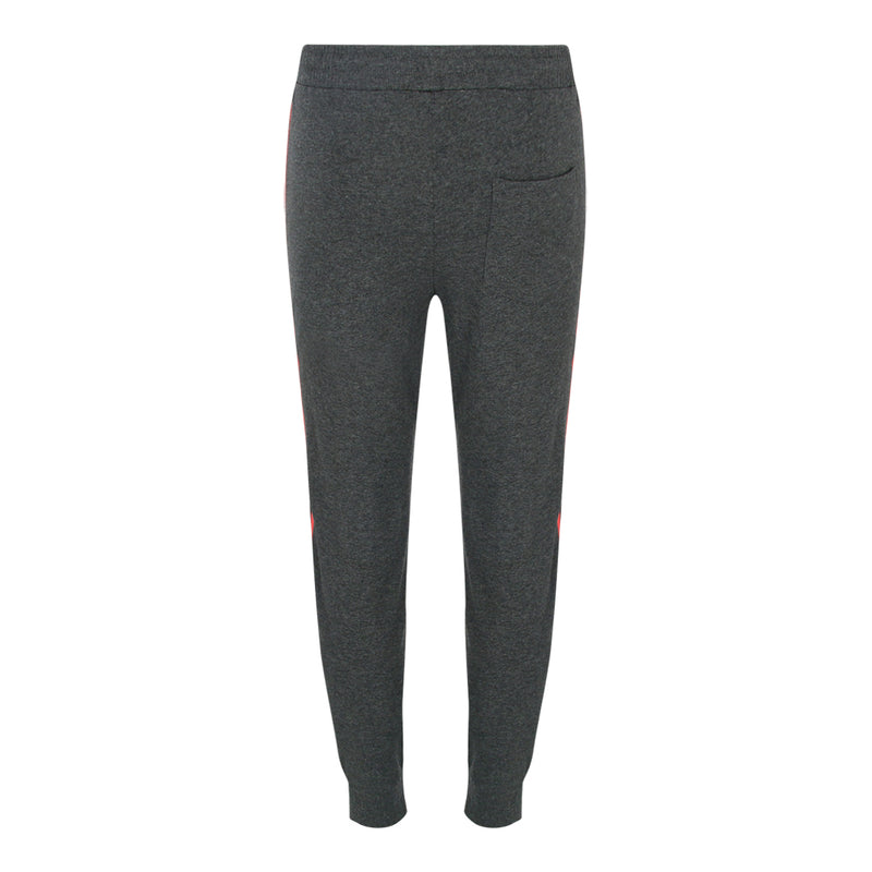Pull String Long Pants With Contrast Side Panel (Charcoal / Red)