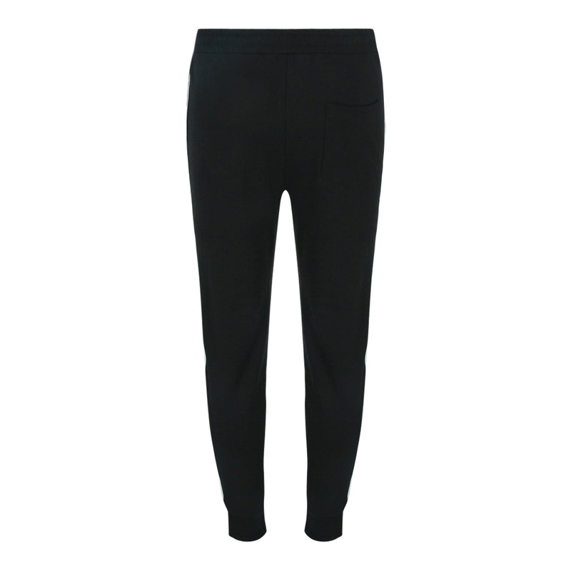 Pull String Long Pants With Contrast Side Panel (Black / White)