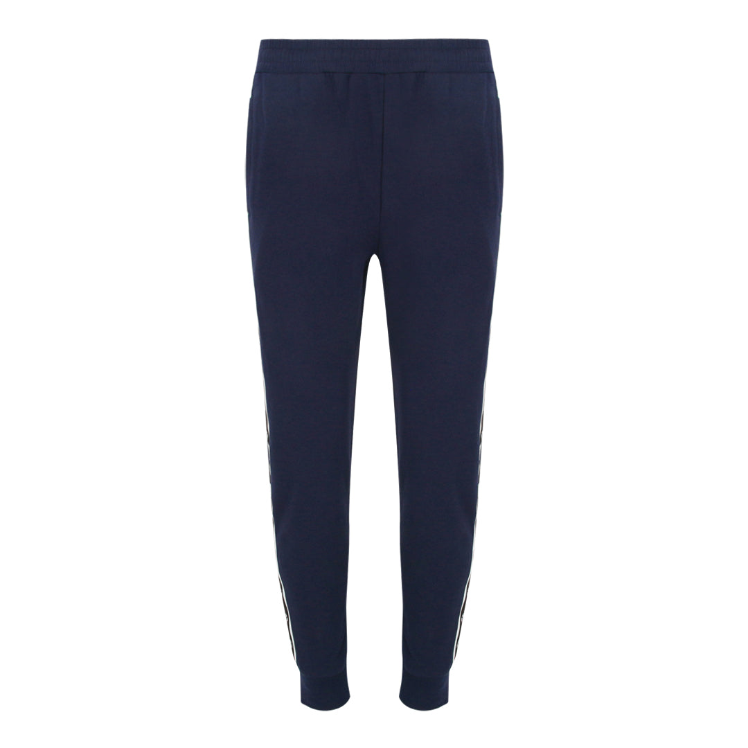 Pull String Long Pants With Contrast Side Panel (Navy / White)