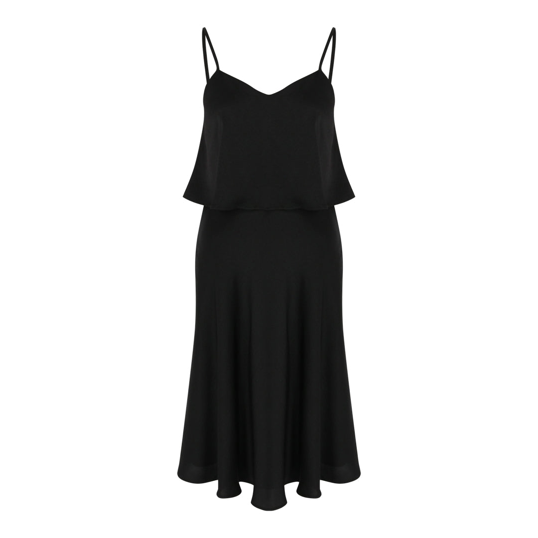 Spaghetti Satin Flare Dress (Black)