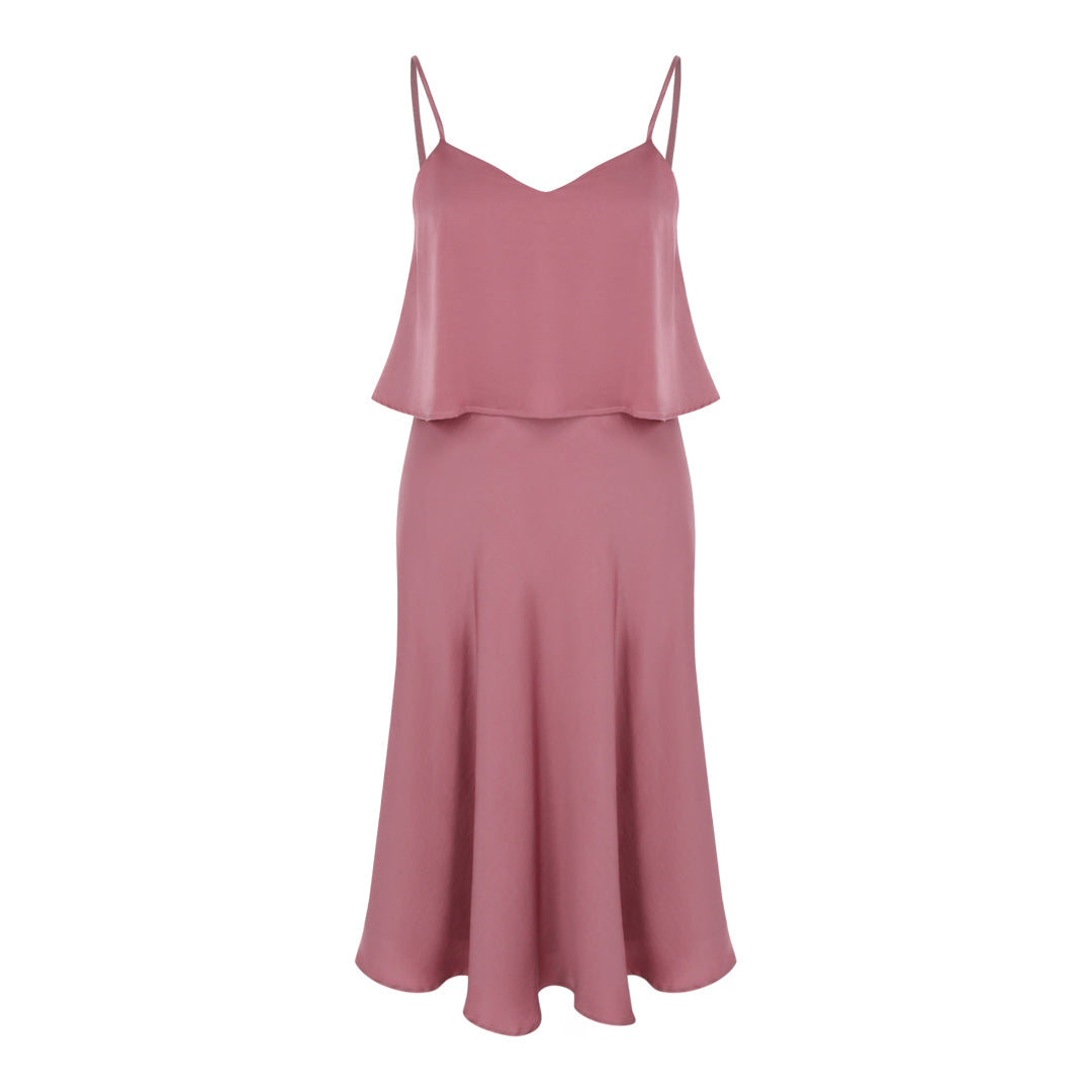 Spaghetti Satin Flare Dress (Mauve)