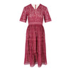 Vee Neck Fit & Flare Lace Dress (Maroon)
