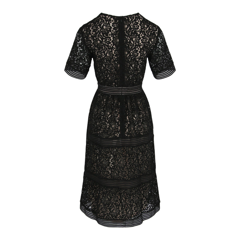 V-Neck Fit & Flare Lace Dress (Black)