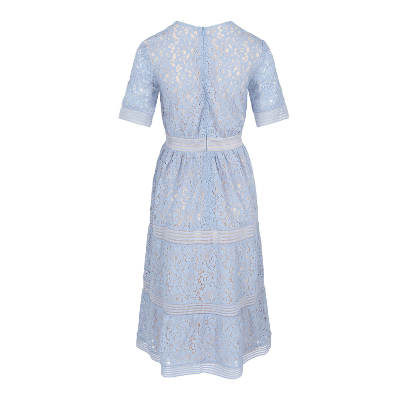 V-Neck Fit & Flare Lace Dress (Light Blue)