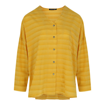 Long Sleeve Striped Button Down Top in Mustard
