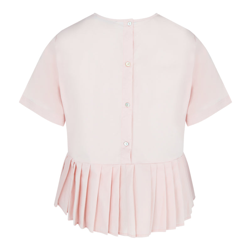Short Sleeve Pleated Bottom Top in Dusty Pink