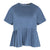 Short Sleeve Pleated Bottom Top in Greyish Blue