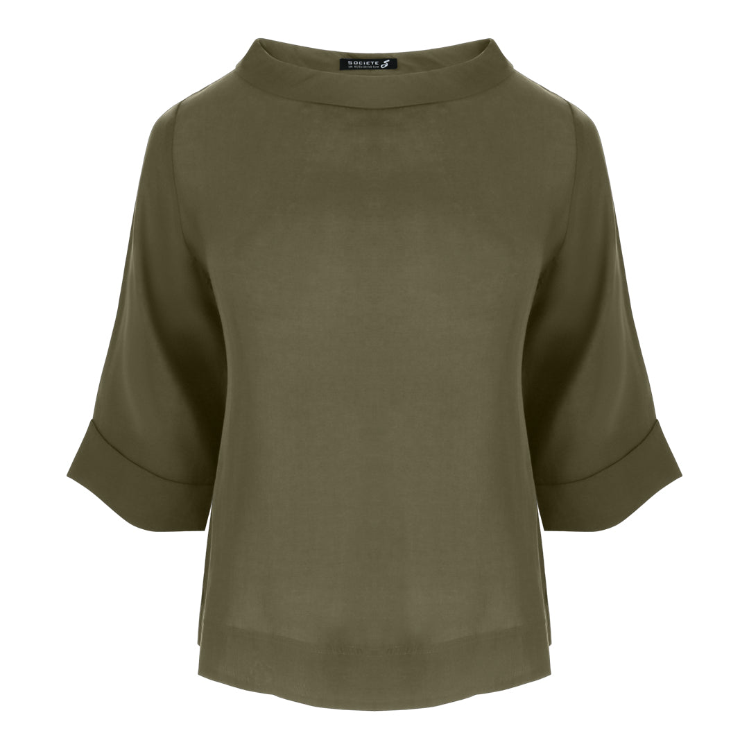 Cowl Neck Top in Olive