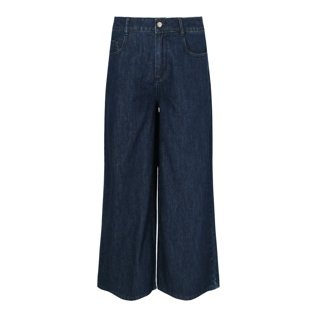 Denim Wide Leg Pants (Dark Denim)