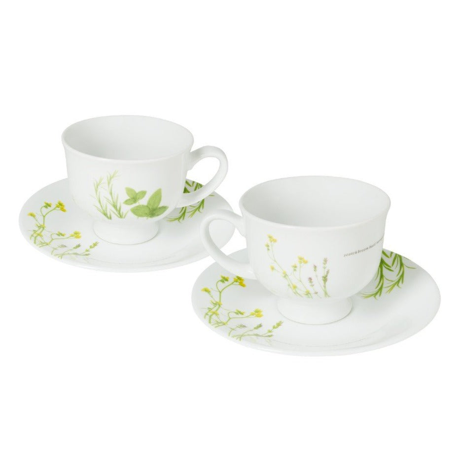 4pc Teacup Set, European Herbs