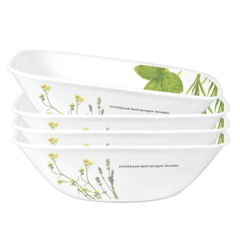 4pc Square Round 32oz Bowl, European Herbs