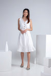 Sleeveless Pleated Hem Dress in Off White