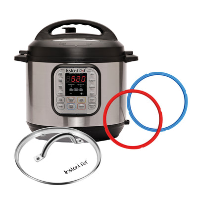 Duo Deluxe w/ Glass Lid, Colored Sealing Rings (6Qt Gray)