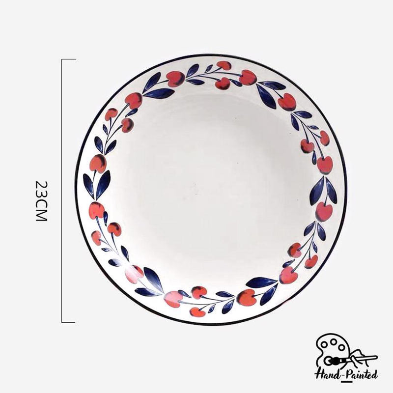 Hand Painted Coupe Plate 9 inch (Holiday Berry)