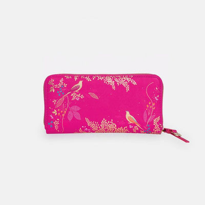 Pink Bird Large Zip Purse