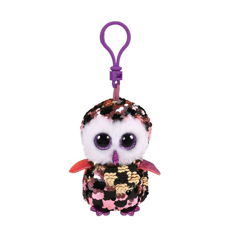 Ty Flippables 5in Clip - CHECKS -  Pink/Black/Gold Owl Sequin