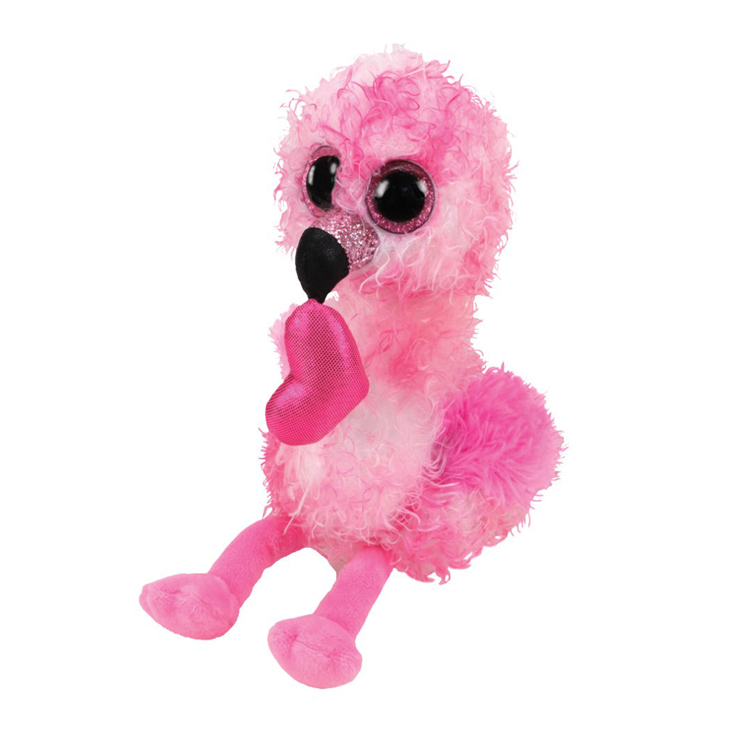Ty Beanie Boos 6in Regular - DAINTY - Flamingo w Heart