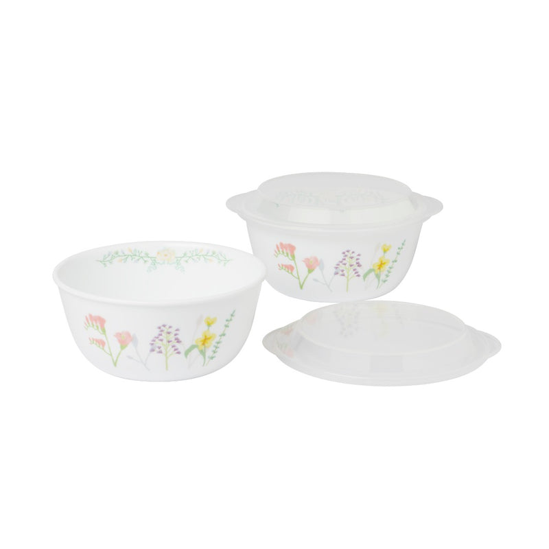 2pc Noodle Bowl Set + 2pc Plastic Cover Set, Bloom