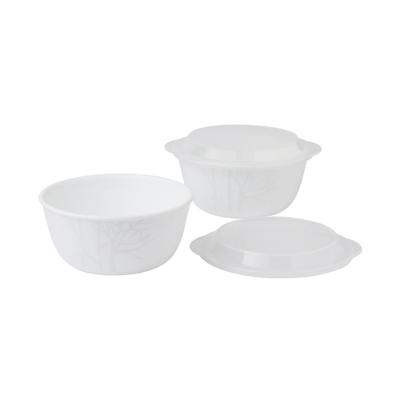2pc Noodle Bowl Set + 2pc Plastic Cover Set, Frost