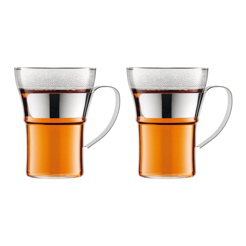Assam Glass Mug With Stainless Steel Handle, Set Of 2