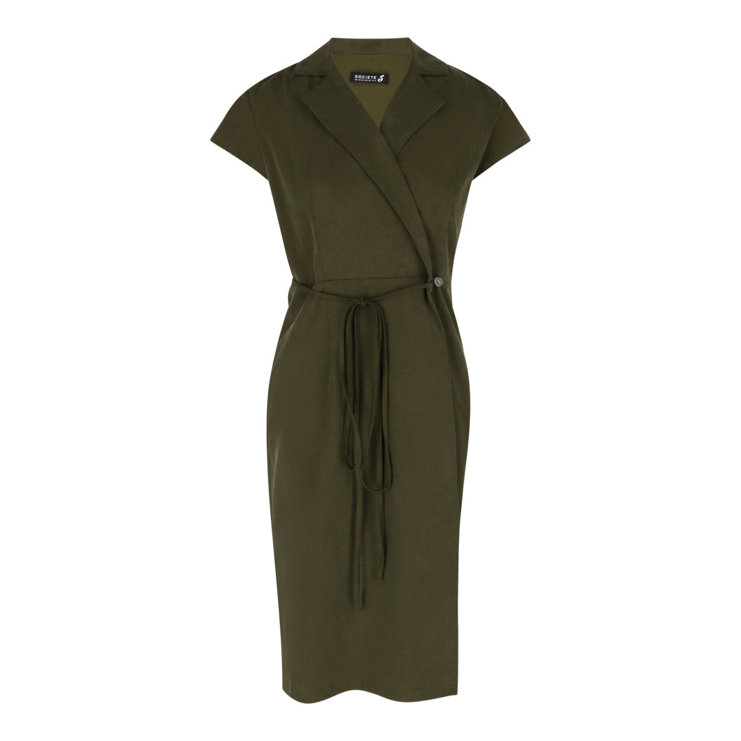 Cap Sleeve Wrap Tie Dress (Green)