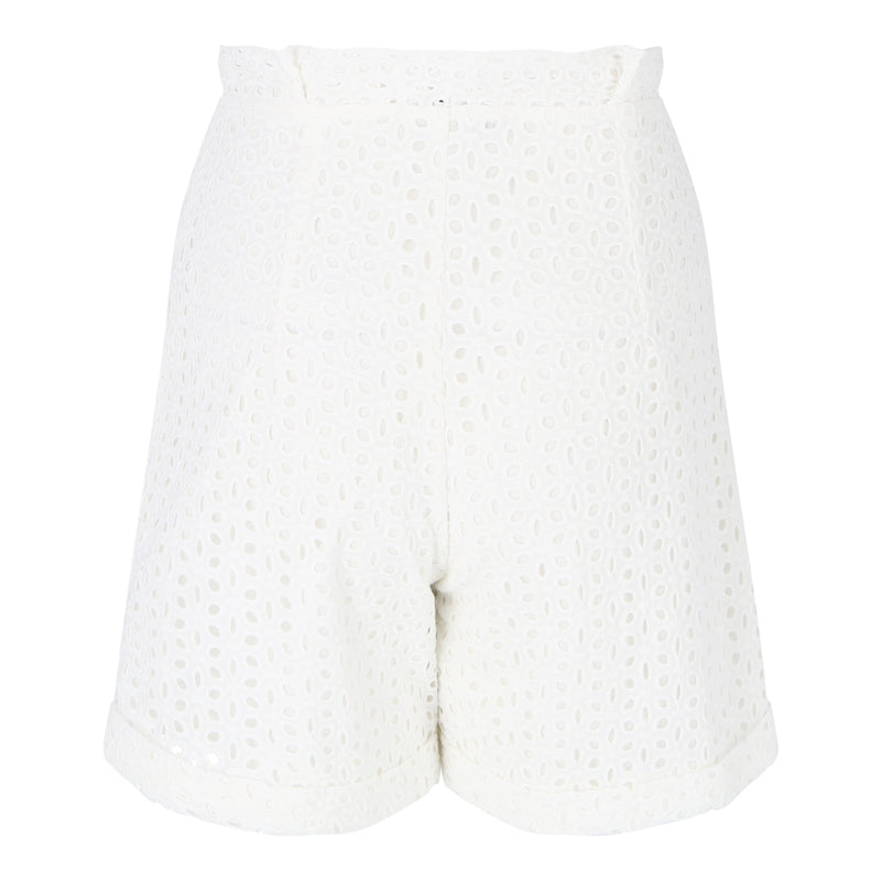High Waisted Eyelet Shorts (White)