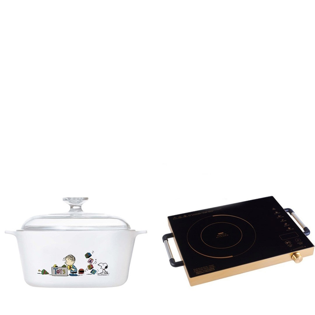 5L Covered Casserole (Snoopy Colorful) with Free World Kitchen High Heat Cooker (worth $79)
