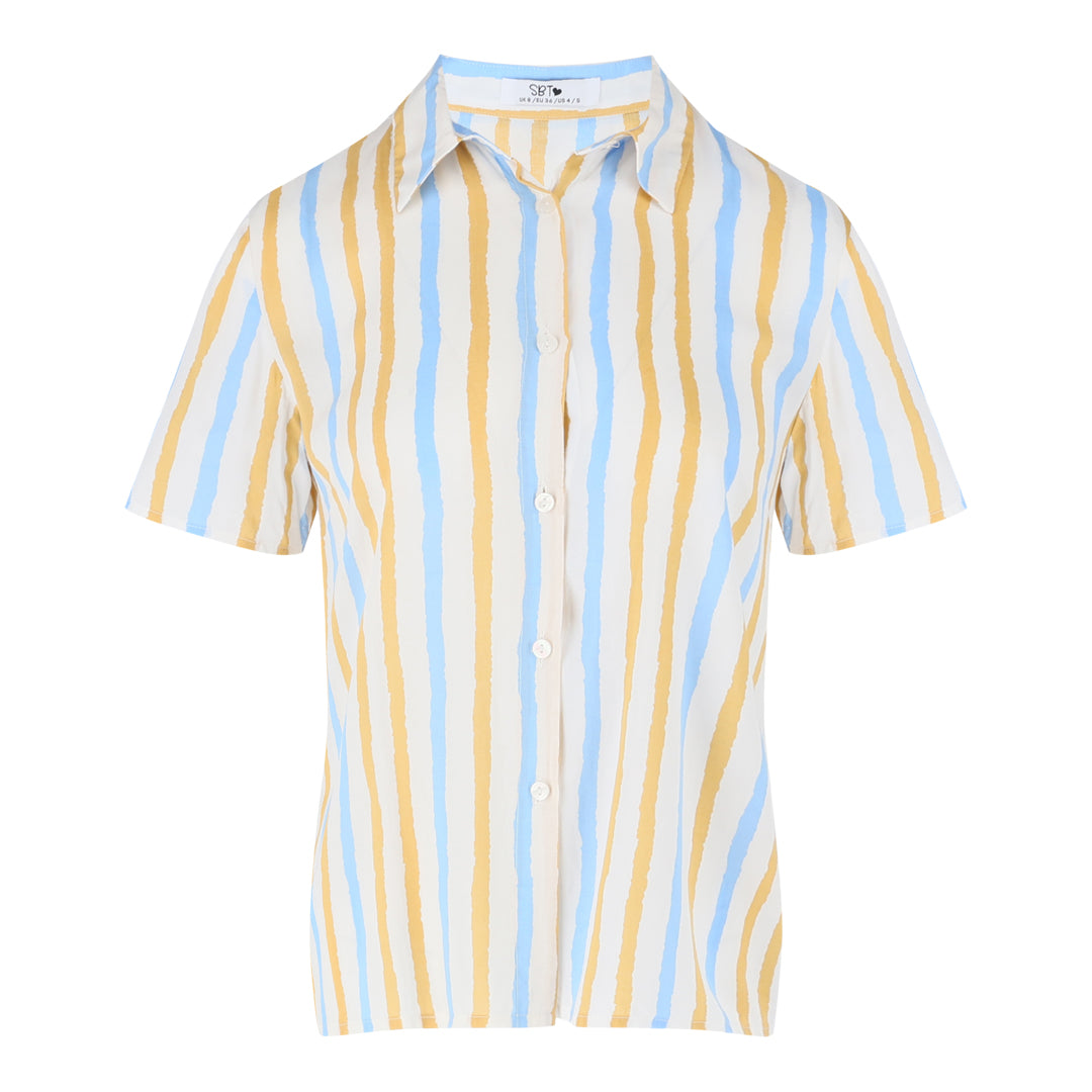 Short Sleeve Stripe Shirt (Mustard/Blue)