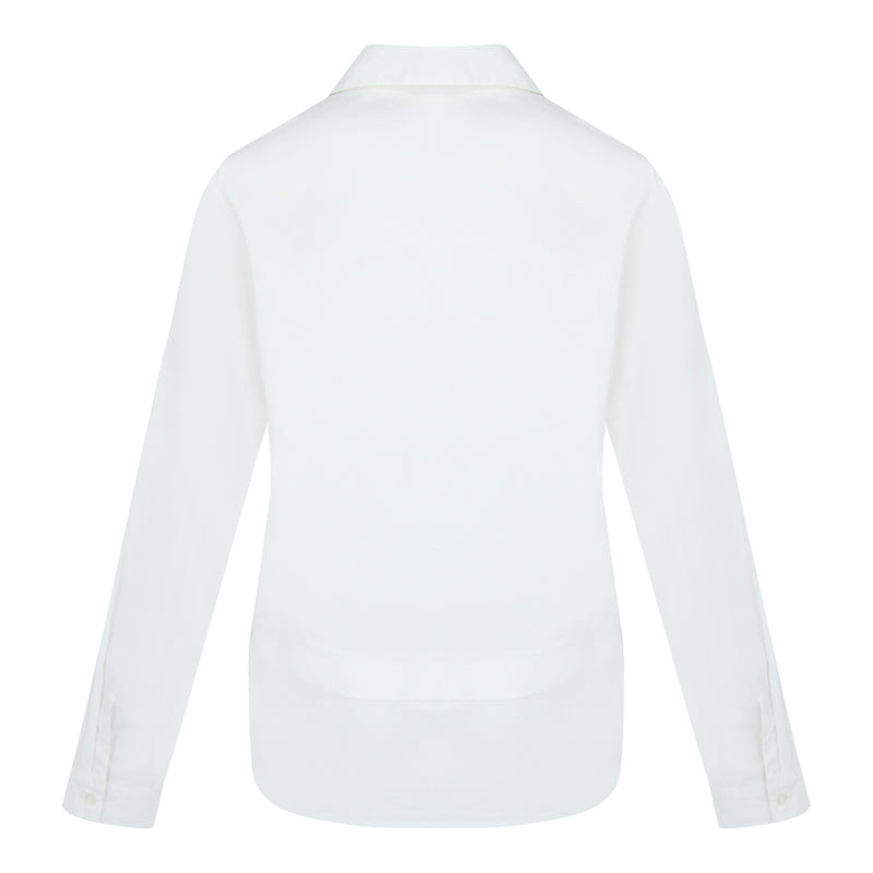 Curved Hem Long Sleeve Shirt (White)