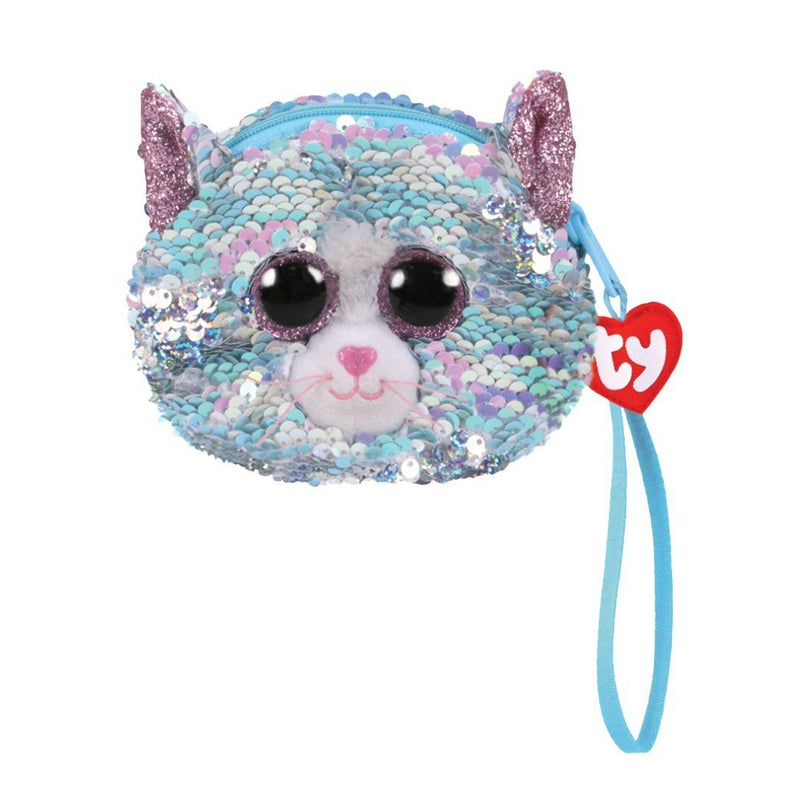 Ty Fashion Sequin - WHIMSY - Blue Cat Sequin Wristlet