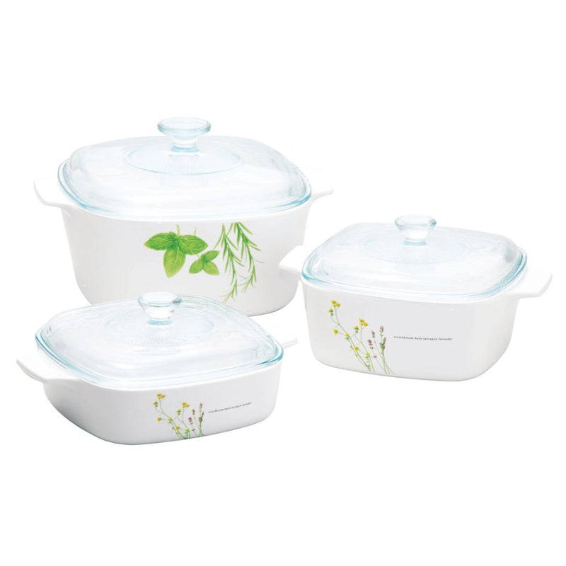 6pc Casserole Set, European Herbs