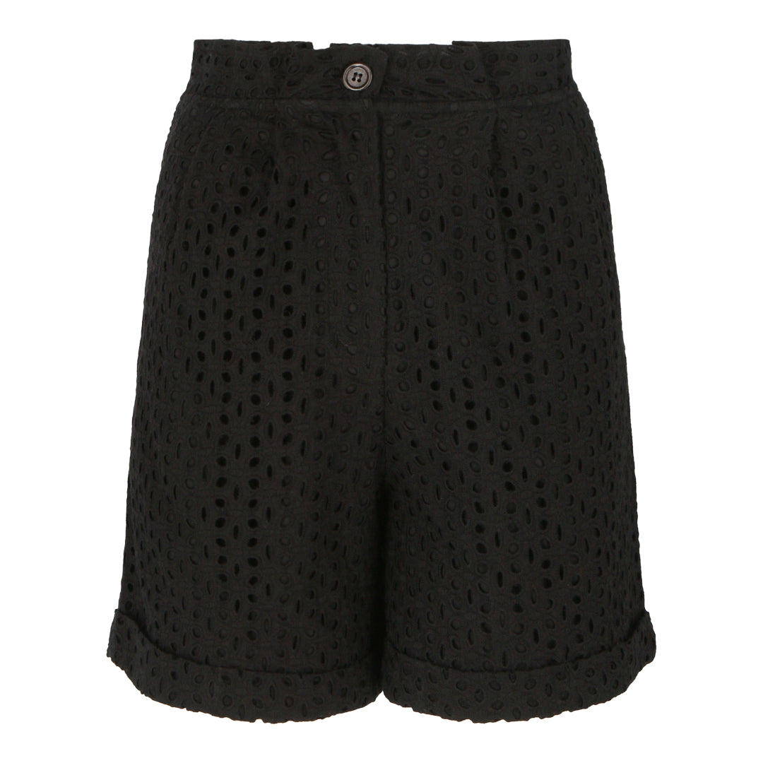 High Waisted Eyelet Shorts (Black)