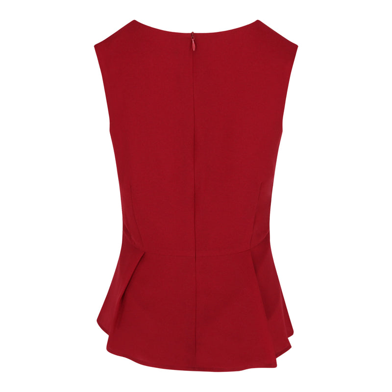 Peplum Sleeveless Top (Red)