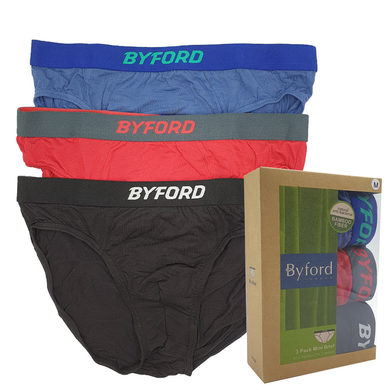 Bamboo Mini Briefs With Elastic Waistband 3-PC (Assorted colours)