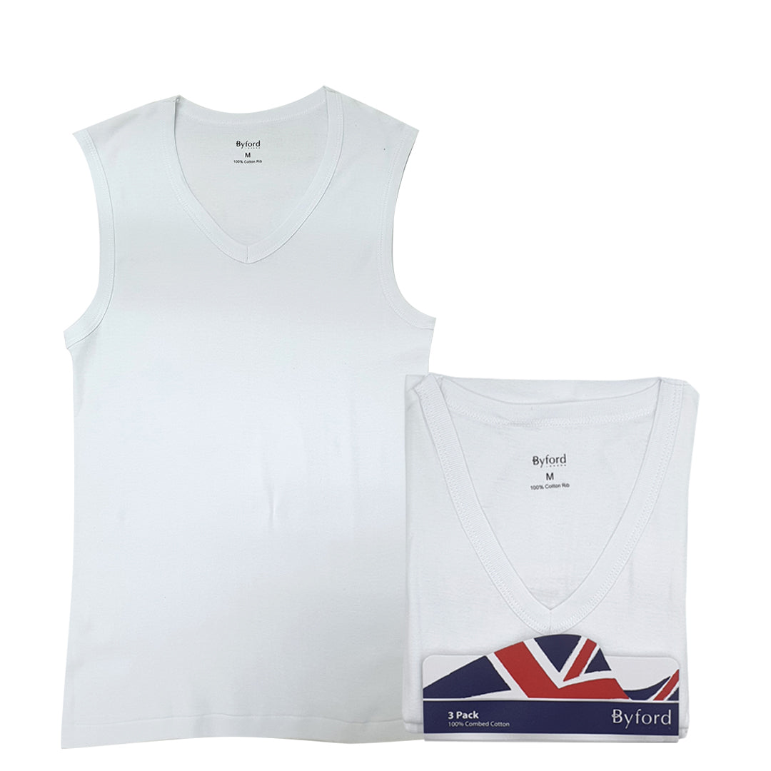 V Neck Muscle Tees 3-PC (White)