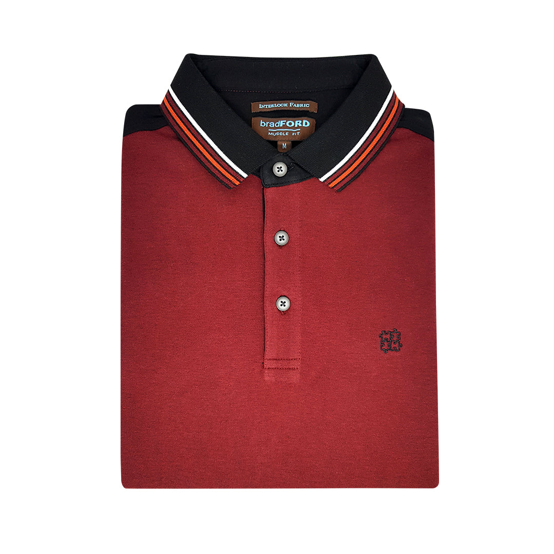 Interlock Fabric Polo Shirt (Burgundy)