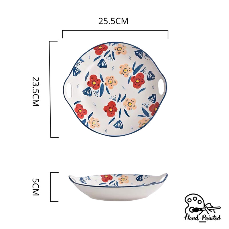 Hand Painted Round Plate with Handles 10 inch (Poppy Blossom)