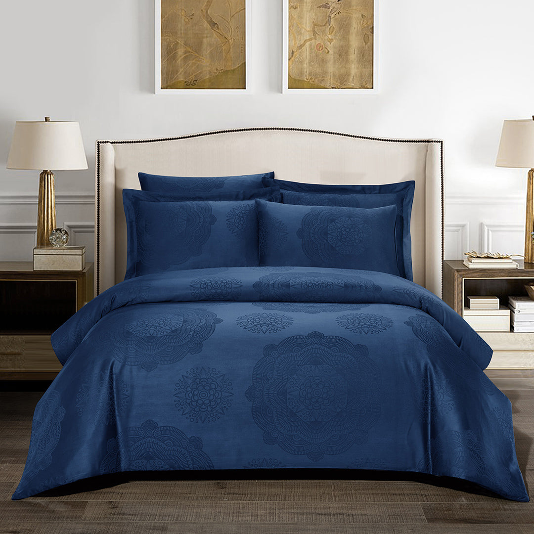 Loretta Bohemian Fitted Sheet Set in Blue